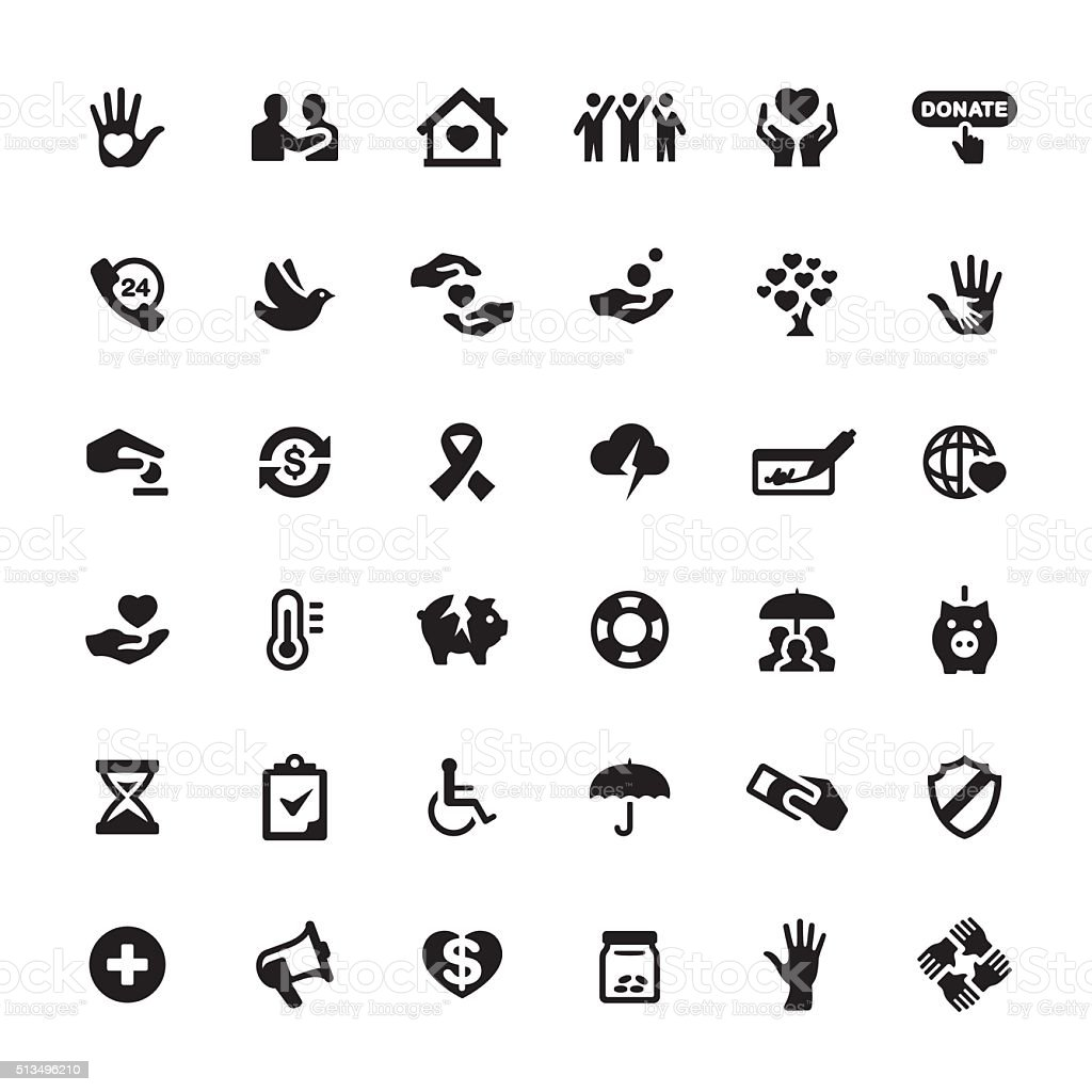 Charity and Relief Work vector symbols and icons vector art illustration