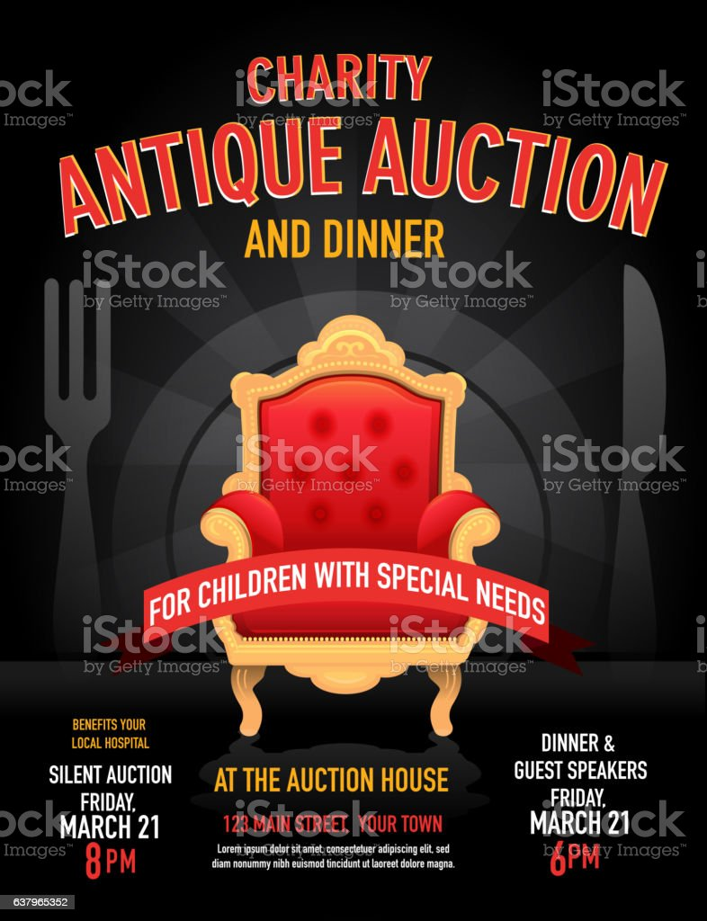 charity antique auction poster invitation design template stock
