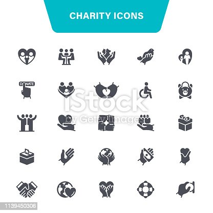 Human Hand, Volunteer, Check - Financial Item, Coin, Currency, Black Icon Set
