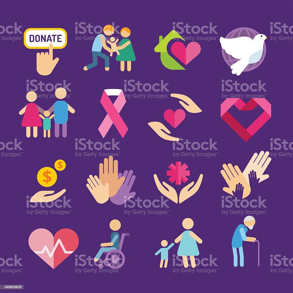 Charity care flat icons set vector art illustration