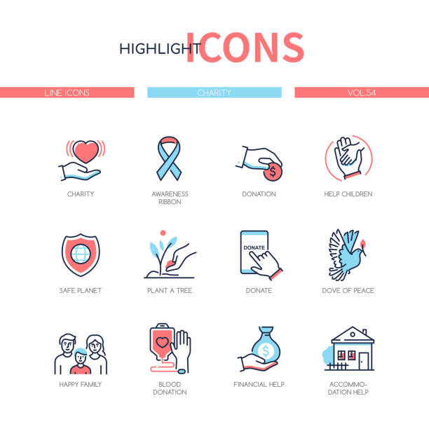 Charity concept - line design style icons set vector art illustration