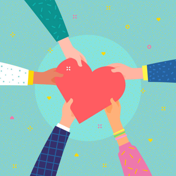 Charity concept. Several people hold the heart Concept of charity and donation. Give and share your love to people. Several people hold big heart symbol on their hands. Flat design, vector illustration. community clipart stock illustrations