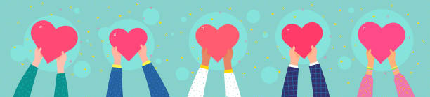 Charity concept. Several people hold the heart Concept of charity and donation. Give and share your love to people. Ppeople are holding hearts on their hands. Flat design, vector illustration. community clipart stock illustrations