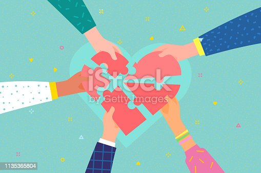 Concept of charity and donation. Give and share your love to people. Several people hold big heart puzzle symbol on their hands. Flat design, vector illustration.
