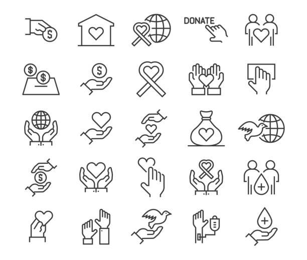 illustrazioni stock, clip art, cartoni animati e icone di tendenza di charity, donation and donor icons - accudire