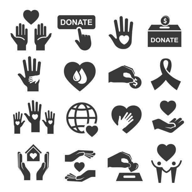 Charity donation and help symbol icon set Charity donation and help symbol icon set. Organization image, money to help people, sick, poor, with disability. Vector line art illustration on white background charity stock illustrations