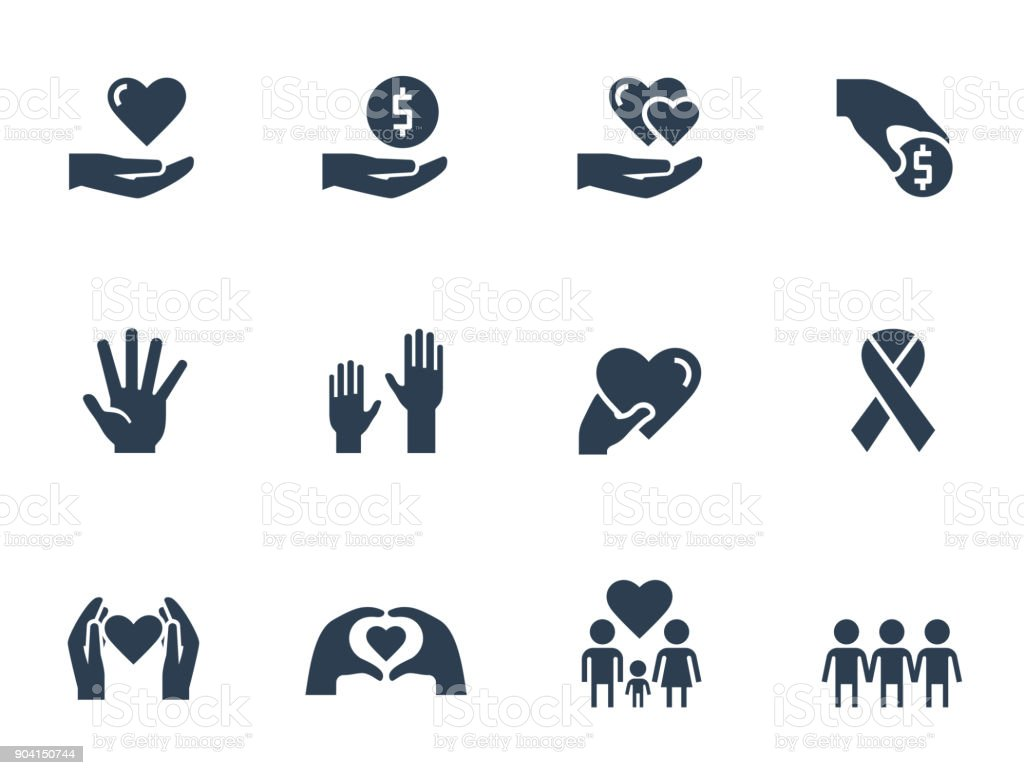 Charity, donation and volunteering icon set in glyph style vector art illustration