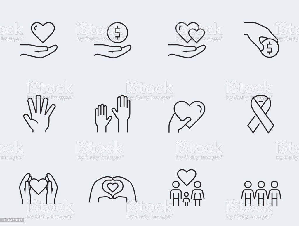 Charity, donation and volunteering icon set in thin line style vector art illustration