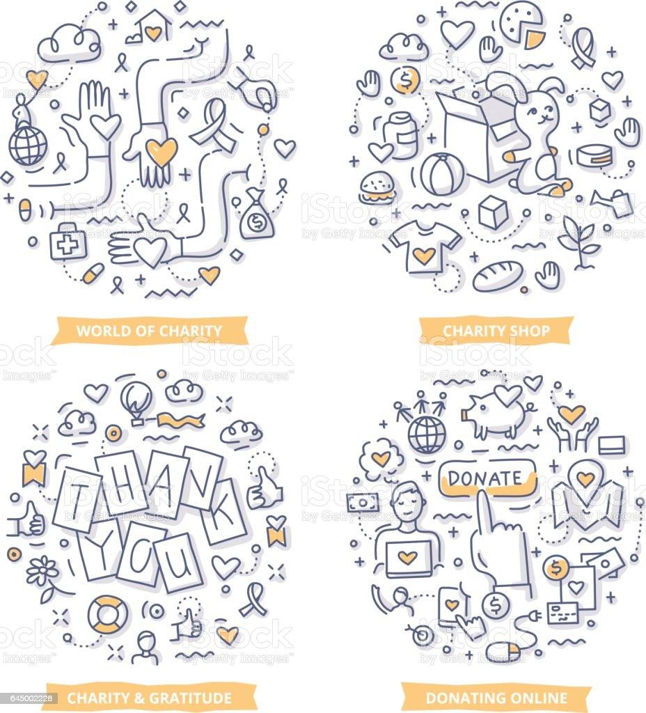 Charity & Donation Doodle Illustrations vector art illustration