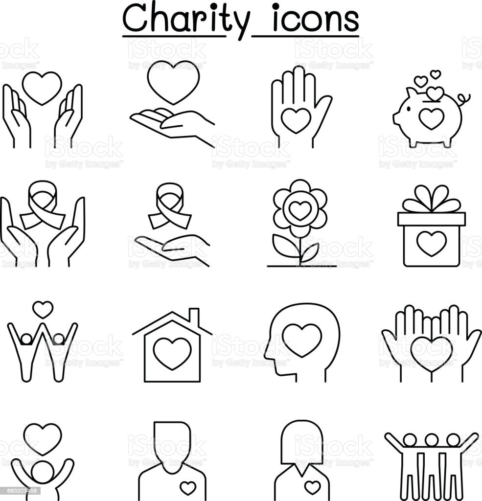 Charity & Donation icon set in thin line style royalty-free charity donation icon set in thin line style stock vector art & more images of a helping hand