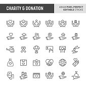 30 thin line icons associated with charity & donation. Symbols such as giving money, donating blood and other aid or relief related objects are included in this set. 48x48 pixel perfect vector icon & editable vector.