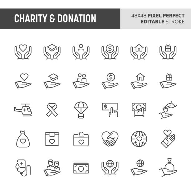 Charity & Donation Icon Set vector art illustration