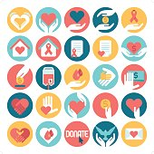 A set of 25 flat charity related icon set. Icons are grouped individually.