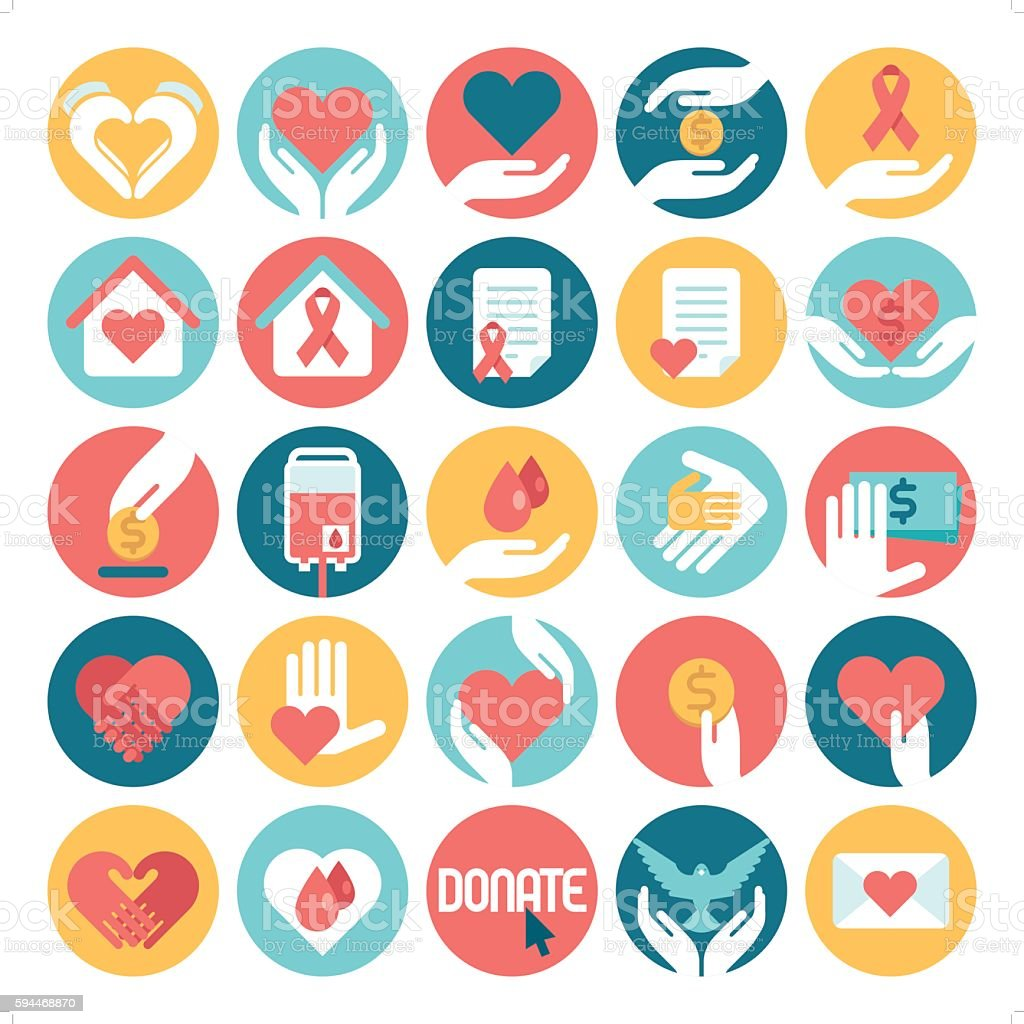 charity & donation icons vector art illustration