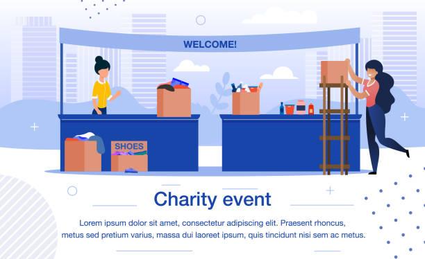 Charity-Event oder Fair Flat Vector Banner Vorlage – Vektorgrafik