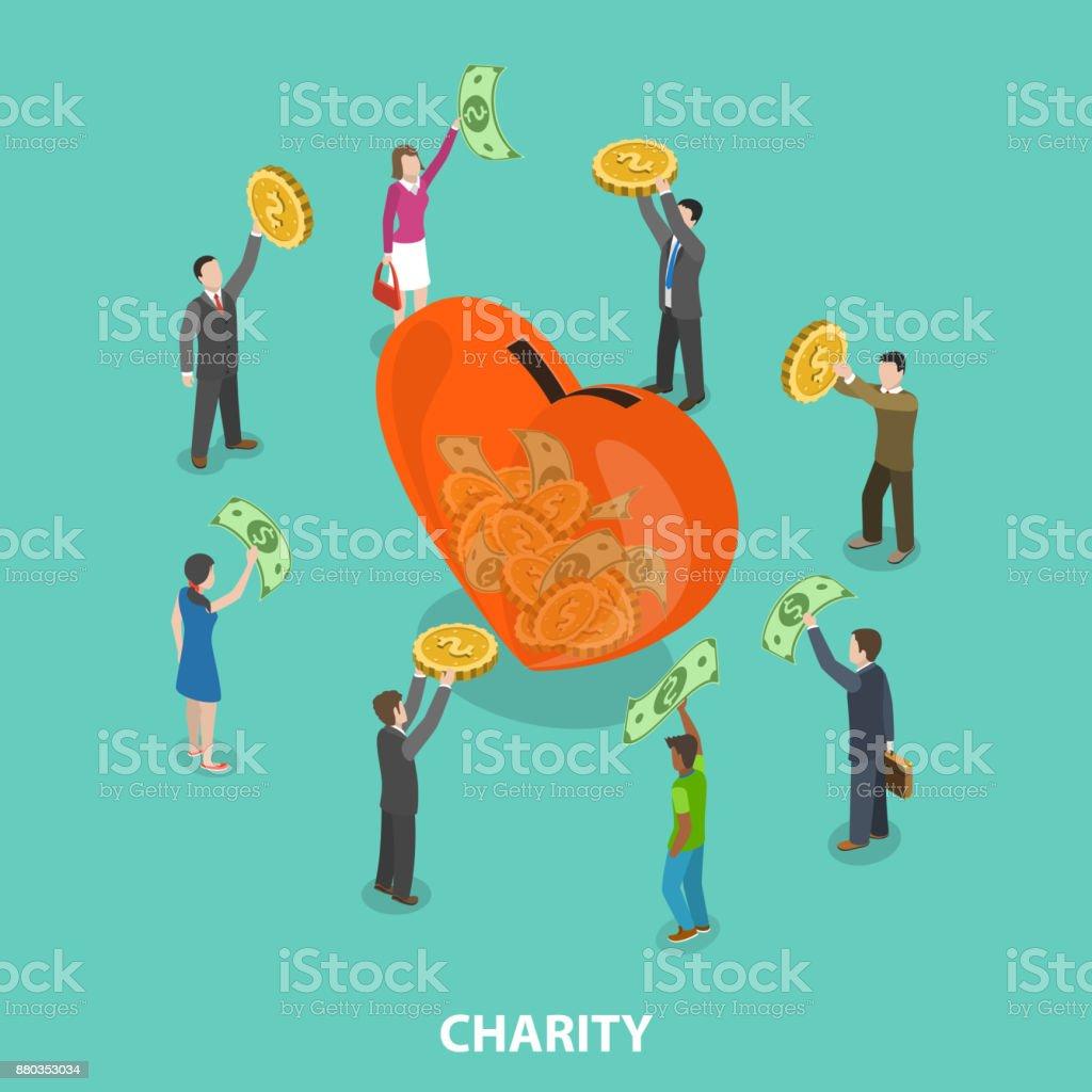 Charity flat isometric vector concept vector art illustration