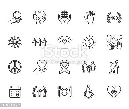 Charity flat line icons set. Donation, nonprofit organization, NGO, giving help vector illustrations. Outline signs for donating money, volunteer community. Pixel perfect 64x64. Editable Strokes.