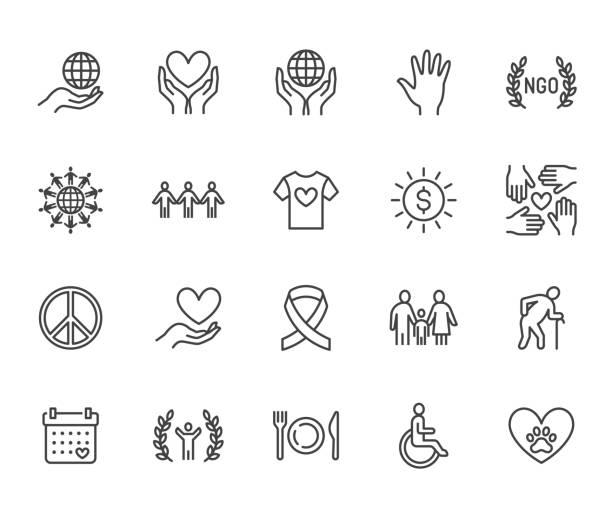 charytatywny zestaw ikon płaskiej linii. darowizna, organizacja non-profit, organizacja pozarządowa, dająca pomoc ilustracjom wektorowymi. zarys znaków do przekazywania pieniędzy, społeczność wolontariuszy. pixel doskonały 64x64. edytowalne obrysy - ręka człowieka stock illustrations