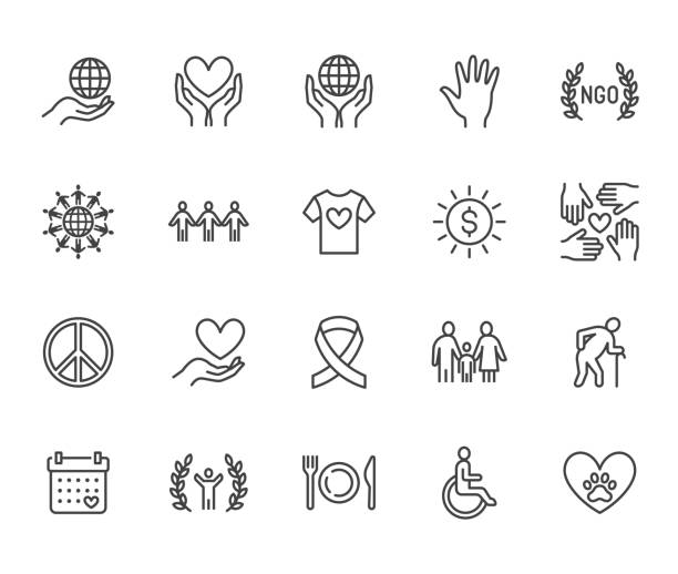charity flat line icons set. donation, nonprofit organization, ngo, giving help vector illustrations. outline signs for donating money, volunteer community. pixel perfect 64x64. editable strokes - помощь stock illustrations