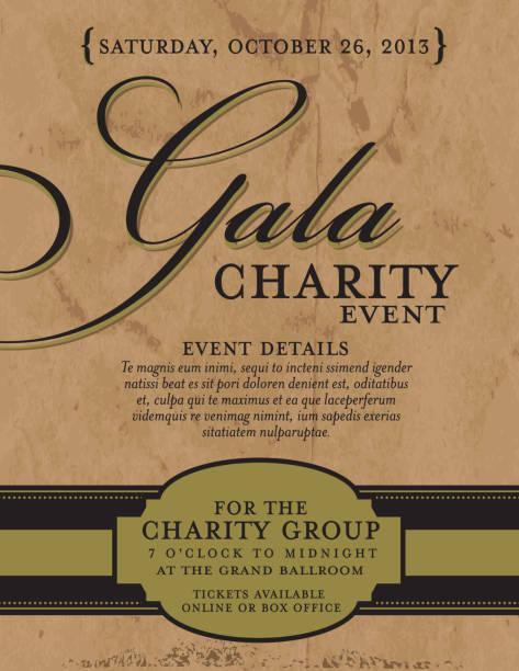 ilustrações, clipart, desenhos animados e ícones de charity gala modelo de design de convite no fundo de papel - eventos de gala