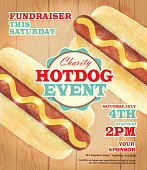 Charity Hotdog Fundraiser poster template on wooden background. Vector illustration of a Hotdog fundraiser poster. Bright and colorful. Includes turquoise and red color themes with wooden background. Perfect for pattern background for picnic invitation design template, summer barbecue event, picnic celebration, backyard bbq, private or corporate party, birthday party, fun family event gathering, potluck supper.