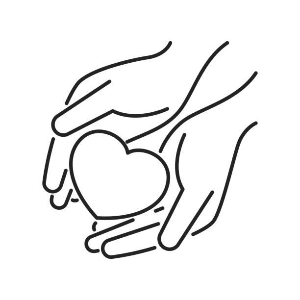 stockillustraties, clipart, cartoons en iconen met charity, humanitaire hulp zwarte lijn icoon. non-profit gemeenschap. overzichtpictogram voor web-pagina, mobiele app, promo. - non profit