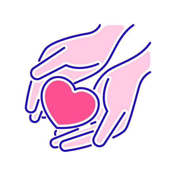 stockillustraties, clipart, cartoons en iconen met liefdadigheid, humanitaire hulp kleurlijn icoon. non-profit gemeenschap. overzichtpictogram voor web-pagina, mobiele app, promo. - non profit