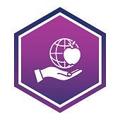 Stencil Silhouette Education Icon on a shiny purple geometric shaped button.