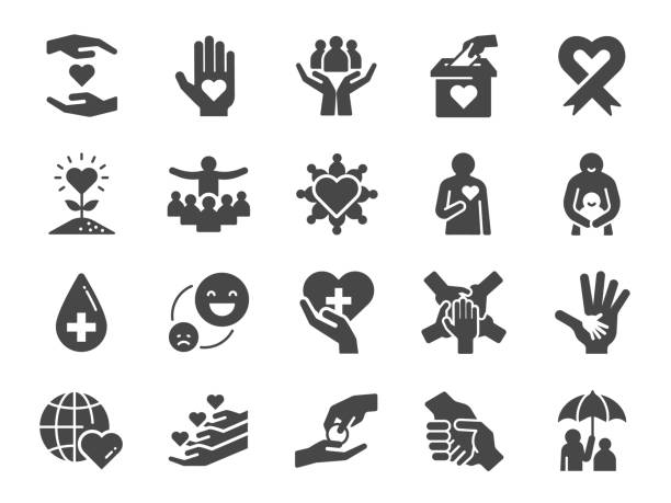 Charity icon set. Included icons as kind, care, help, share, good, support and more. Charity icon set. Included icons as kind, care, help, share, good, support and more. comfort stock illustrations