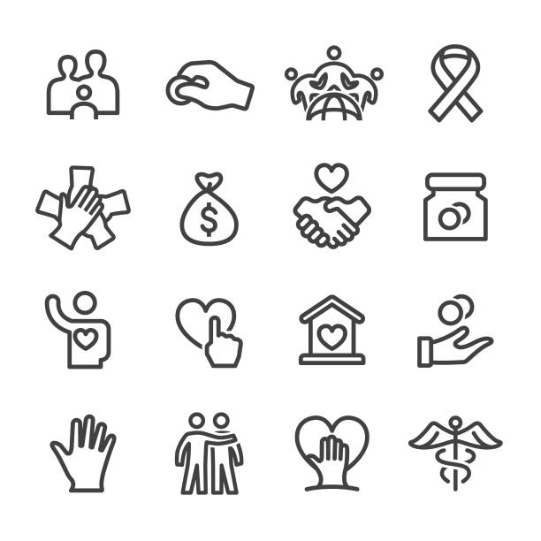Charity Icon Set - Line Series Charity, Relief, charity benefit, donation, care, philanthropist sheltering stock illustrations