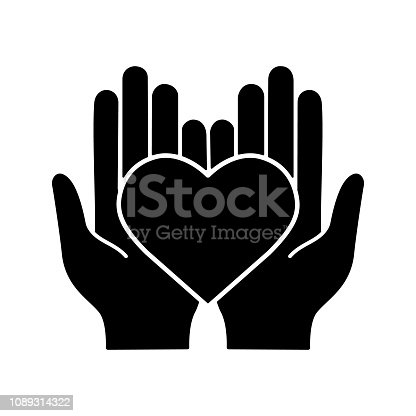 Charity glyph icon. Vector silhouette. Life insurance. Medicine and healthcare. Hands holding heart