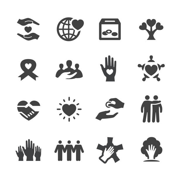 Charity Icons - Acme Series Charity, Relief, Charitable donation, Care, Sharing, a helping hand stock illustrations