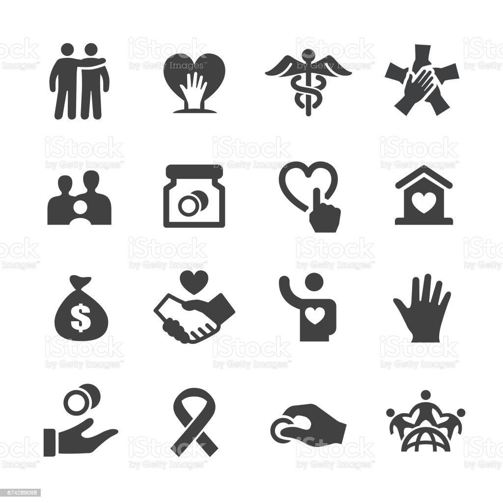 Charity Icons - Acme Series Charity, Charity and Relief Work, Donation, charity benefit, Volunteer, care, A Helping Hand stock vector