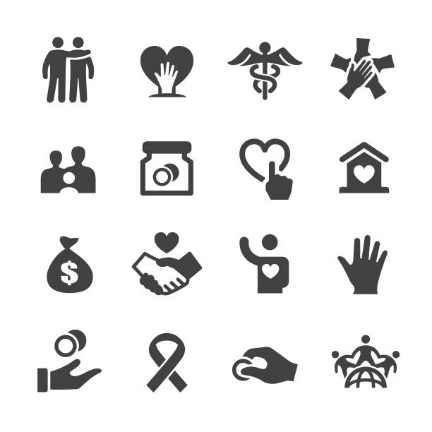 Charity Icons - Acme Series Charity, Charity and Relief Work, Donation, charity benefit, Volunteer, care, a helping hand stock illustrations