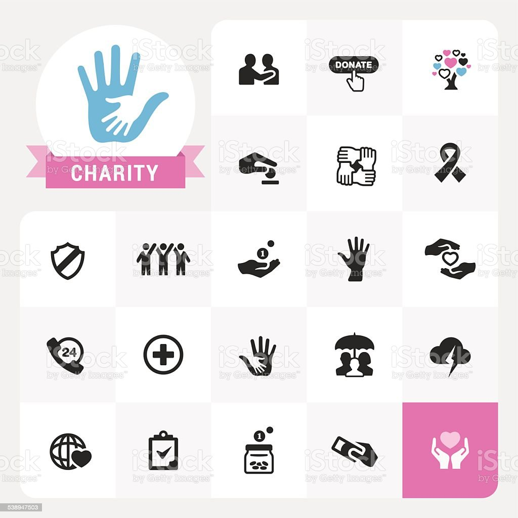 Charity icons and label vector pack vector art illustration
