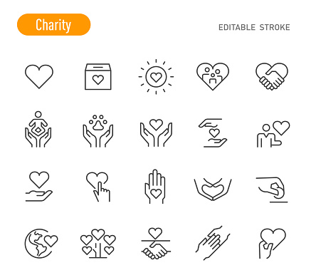 Charity Icons - Line Series - Editable Stroke