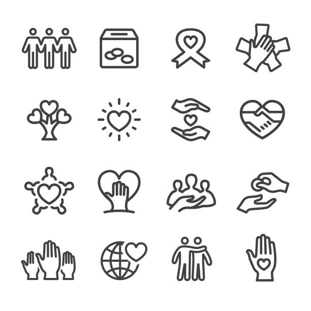 Charity Icons - Line Series Charity, Relief, Care, Donation, community icons stock illustrations