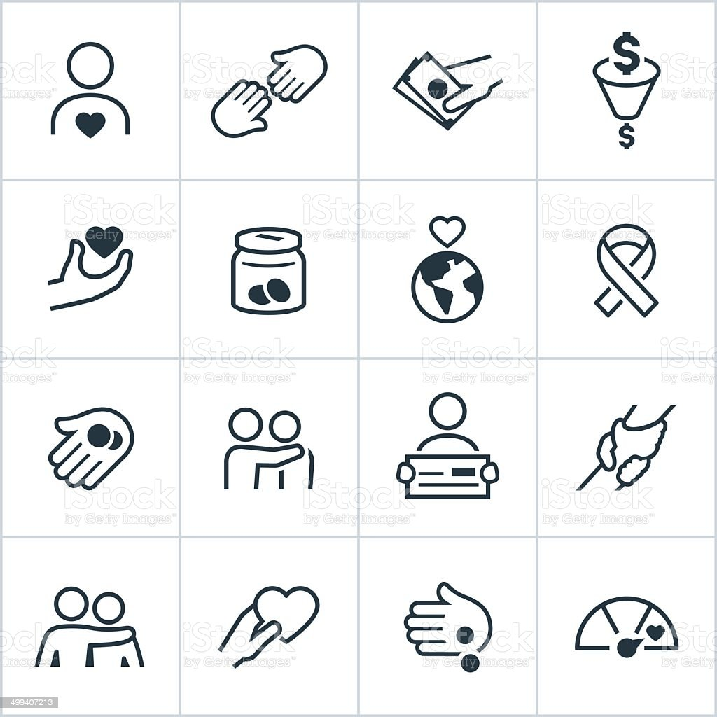 Charity Icons - Line Style vector art illustration