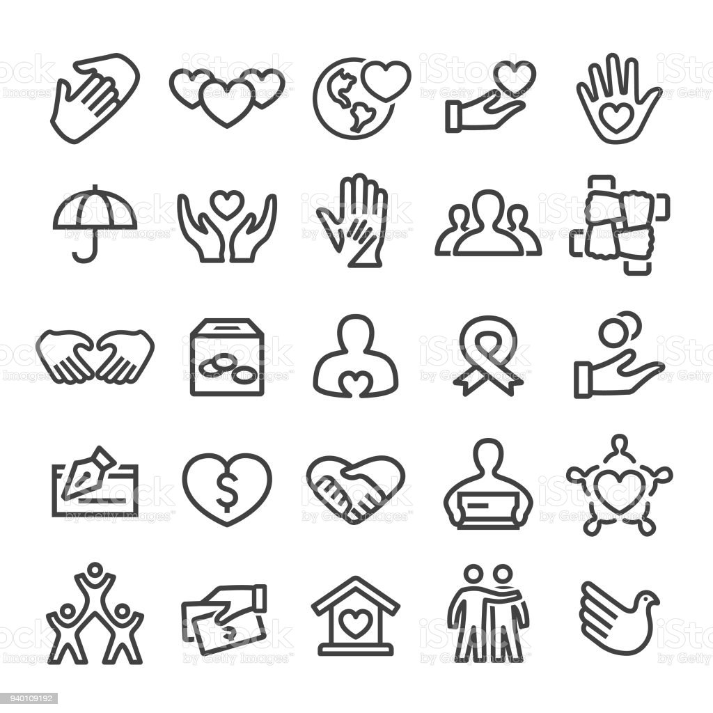 Charity Icons - Smart Line Series Charity, charity benefit, charity and relief work, charitable donation, A Helping Hand stock vector