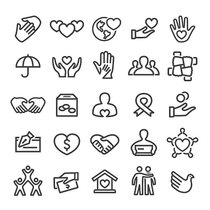Charity Icons Smart Line Series Stock Illustration - Download Image Now