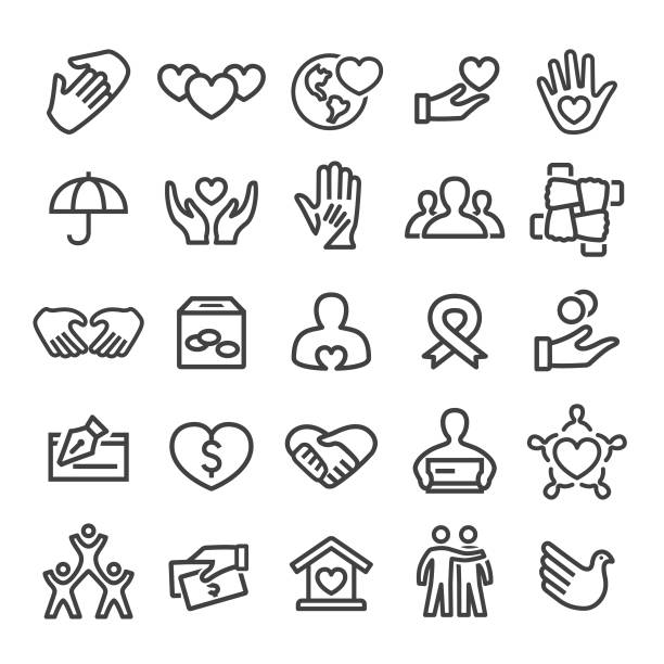 charity icons - smart line series - social stock illustrations, clip art, cartoons, & icons