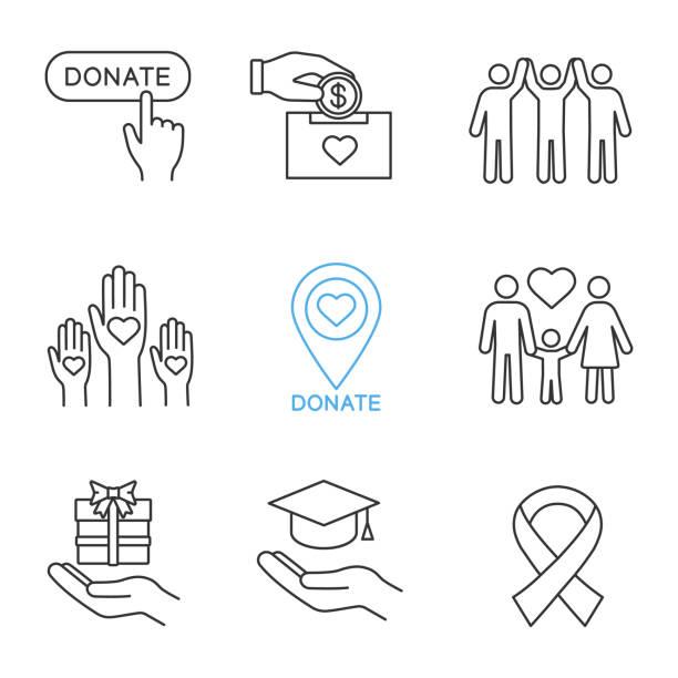 stockillustraties, clipart, cartoons en iconen met de pictogrammen van de liefdadigheid - sociale dienst