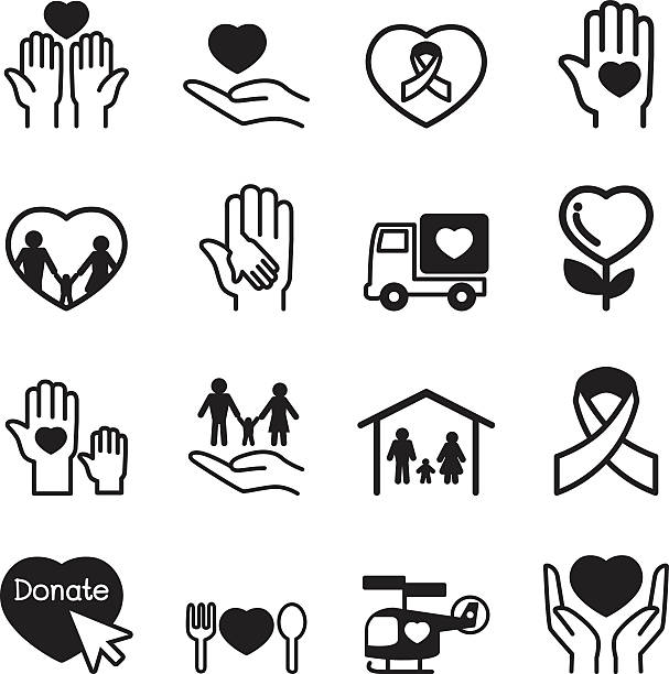 Charity icons Charity icons Set sheltering stock illustrations