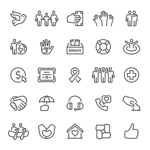 Charity Icons Charity, donate, icons, volunteering, icon, icon set, dove, peace, assistance charity stock illustrations