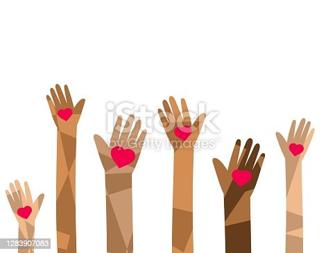 charity illustration, hands raised up, holding hearts symbols, isolated on white background