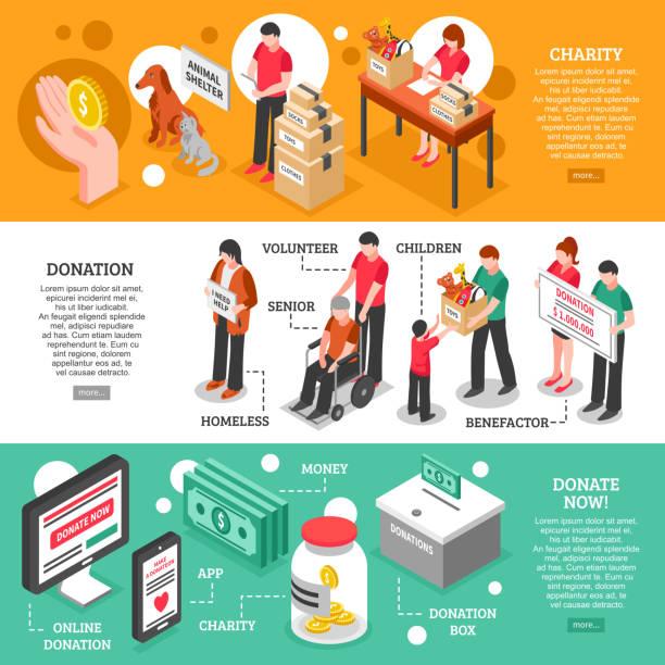 ilustraciones, imágenes clip art, dibujos animados e iconos de stock de banners isométricos de caridad - social media