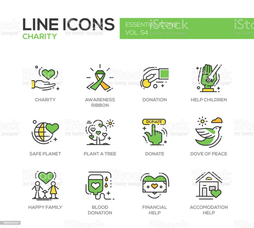 Charity - line design icons set vector art illustration
