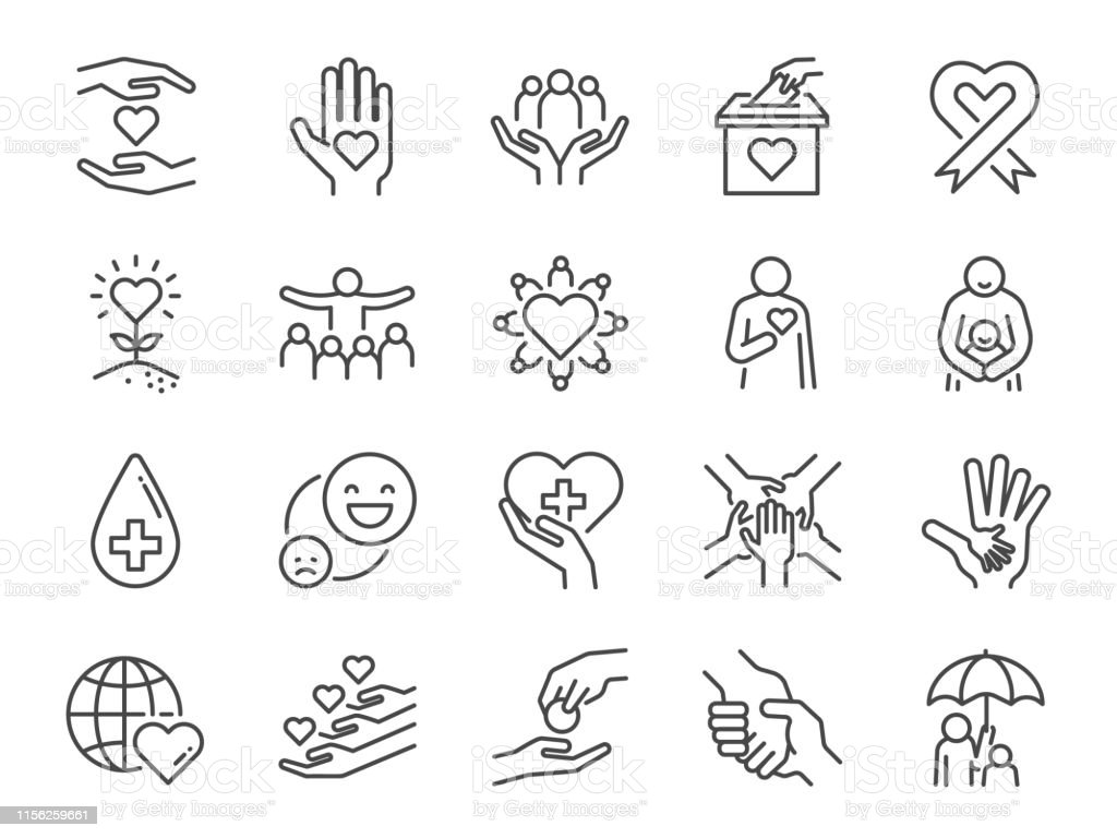 Charity line icon set. Included icons as kind, care, help, share, good, support and more. Charity line icon set. Included icons as kind, care, help, share, good, support and more. Assistance stock vector