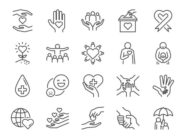 Charity line icon set. Included icons as kind, care, help, share, good, support and more. Charity line icon set. Included icons as kind, care, help, share, good, support and more. social issues stock illustrations