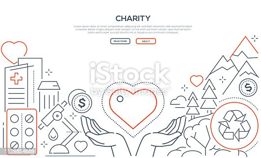Charity - modern line design style web banner on white background with copy space for your text. Ecology, medical care, nature, financial help themes. Volunteering, social support, assistance concept